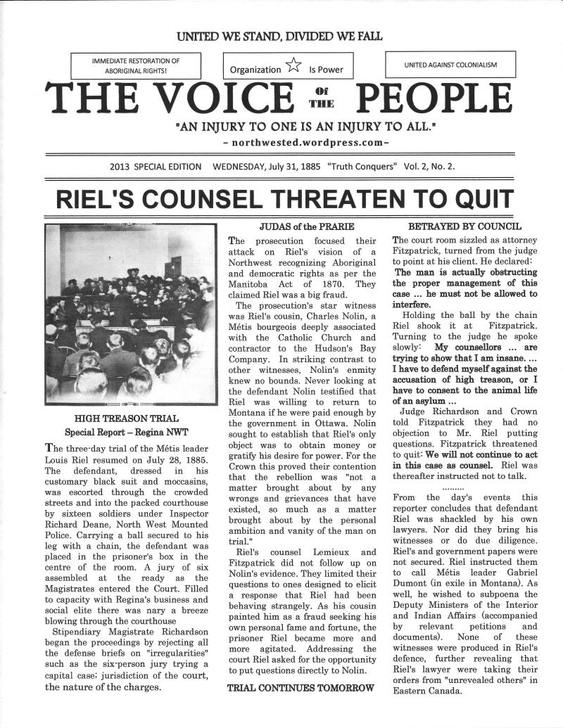 Riel's Trial 1885