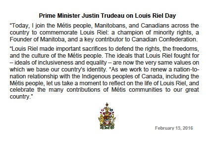 Trudeau Riel Statement Feb 15 16